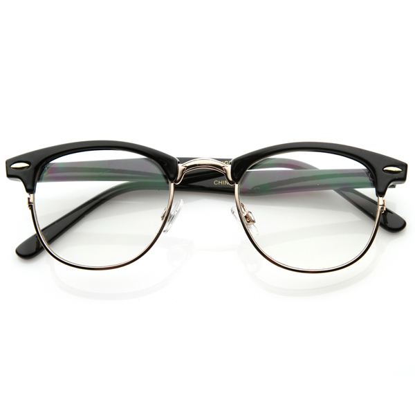 Eyeglass Frames Half Rim : Optical Quality Horned Rim Clear Lens RXable Half Frame ...