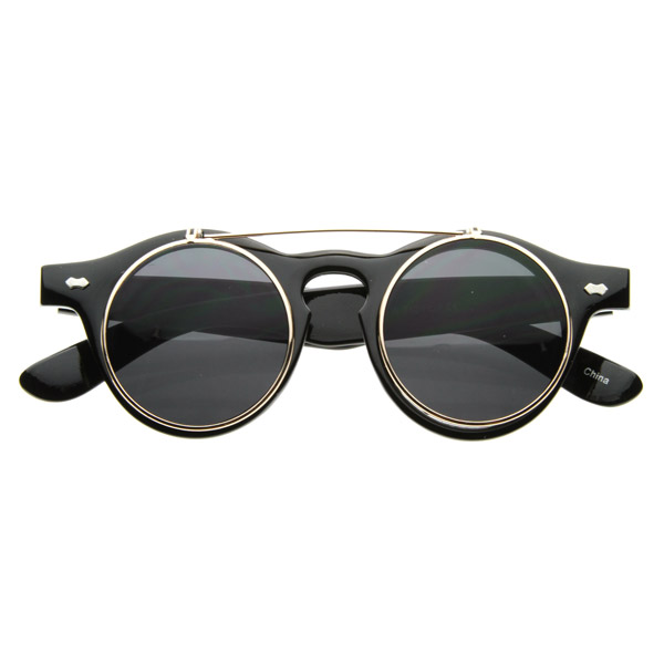 Glasses Frame Flip Up : Small Retro Steampunk Circle Flip Up Glasses / Sunglasses ...