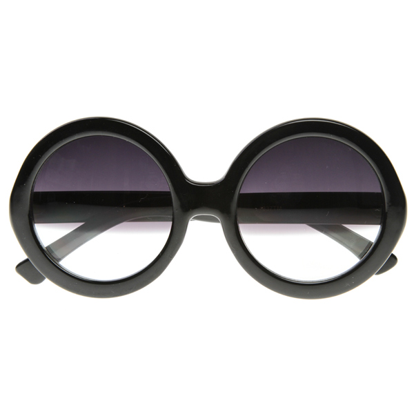 Designer Inspired Womens Oversized Round Circle Half Tinted Lens