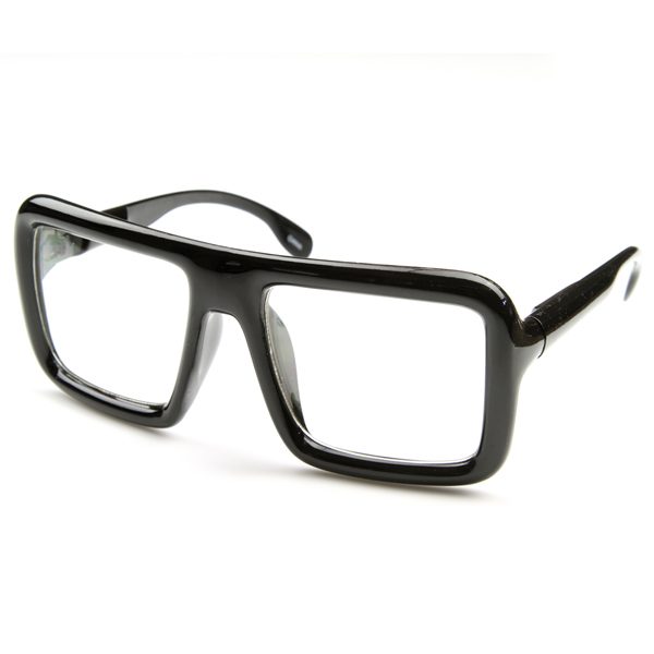 Large Geek Bold Thick Square Frame Clear Lens Glasses ...