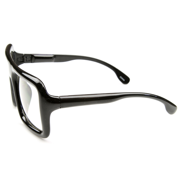 Big Thick Frame Glasses : Large Retro-Nerd Bold Thick Square Frame Clear Lens ...
