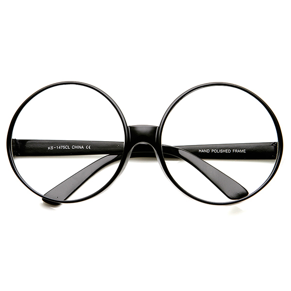Good Eyeglass Frames For Thick Lenses : Super Large Oversized Thick Frame Circle Round Clear Lens ...