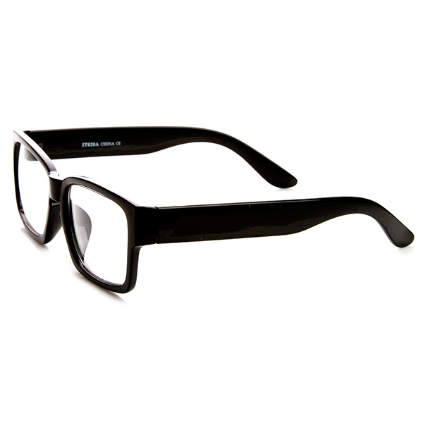 retro fashion bold thick modified rectangular clear lens