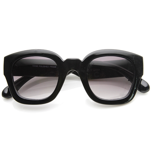 Thick Frame Glasses Black : Bold Rim Thick Frame Retro Square Frame Sunglasses Black ...