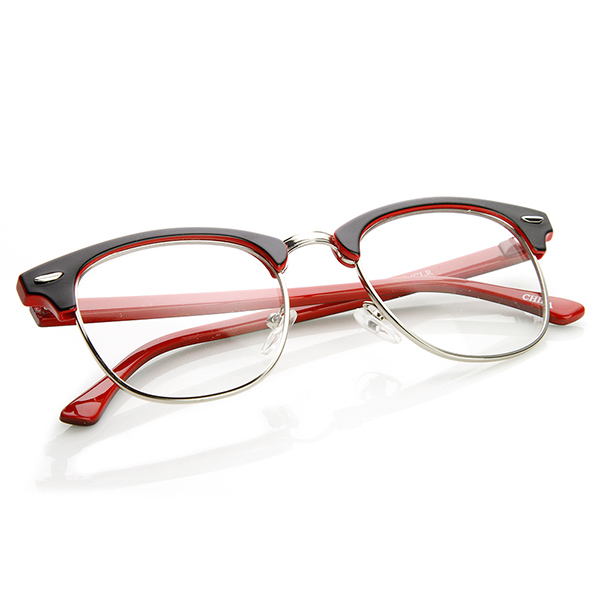 What Are Half Frame Glasses Called : Two-Tone Colorful Half Frame Clear Lens Horn Rimmed Eyeglasses