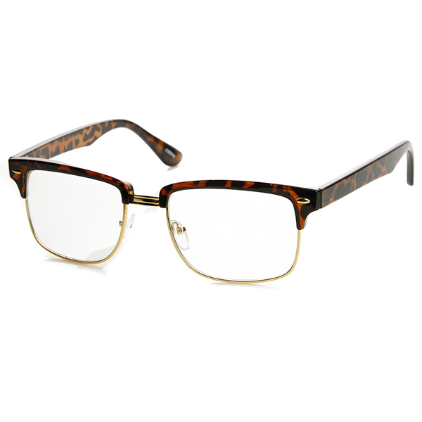 Half Frame Square Glasses : Modified Classic Square Half Frame Clear Lens Horn Rimmed ...